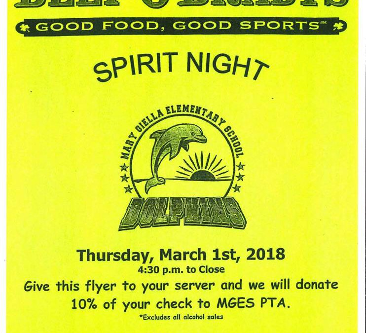 Beef O' Bradys Spirit Night!